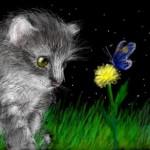 рисунок котенок и бабочка
