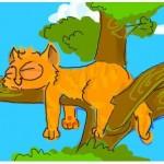 рисунок кошка на дереве