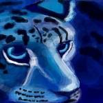 граффити на стену синий леопард