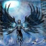 граффити на стену ангел а городе