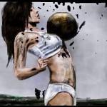 граффити на стену девушка с мячом