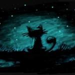 рисунок кот ночью