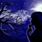 рисунок девушка ночью