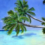 граффити рисунок пальмы и море