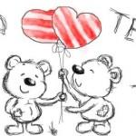 рисунок мишки с шариками